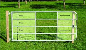 Weidetor, 5,00m - 6,00m, inkl. Montage-Set:   Weidetor, ausziehbar Inklusive aller Befestigungsteile für Holzsäule und Sc