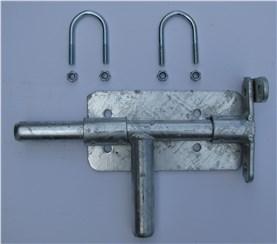 Anschraubbarer Riegel:   Einfacher Riegel Wird mit zwei Bügelschrauben am Weidetorrahmen befestigt.