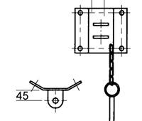 Befestigung für Säulensockel, paarweise:   Einfache Befestigung mit zwei Laschen für Säulensockel Ø300mm. Laschenabsta