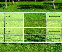 Weidetor, 4,00m - 5,00m, inkl. Montage-Set:   Weidetor, ausziehbar   Inklusive aller Befestigungsteile für Holzsäule und