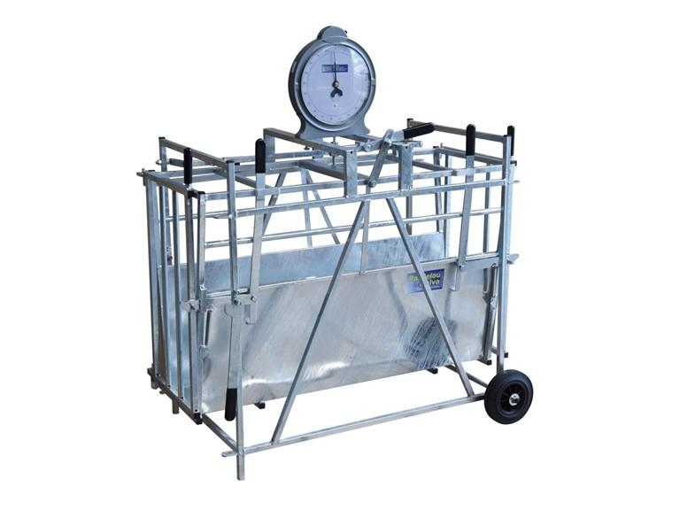 Wiegestand für Lämmer:   Stabiler Rahmen aus feuerverzinktem Stahl Türen, vorne und hinten, zum Eins
